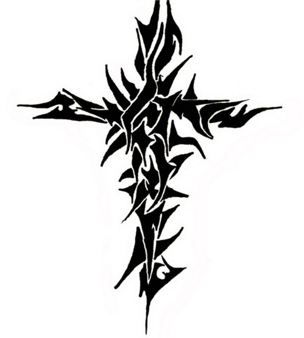 Tribal-Tattoos Unique-Tribal-Cross-Christian-Tattoo-Design