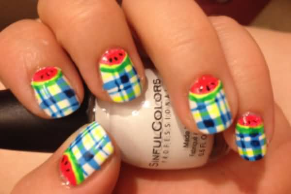 Watermelon Half Moon And Blue Plaid Nail Art