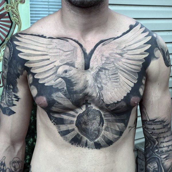 35 awesome dove tattoos on chest. Black Bedroom Furniture Sets. Home Design Ideas