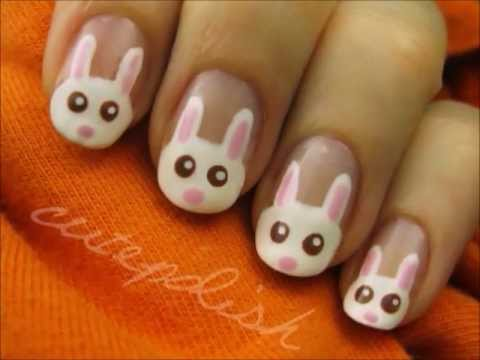 White easter bunnies french tip nail art with tutorial video prinsesfo Images