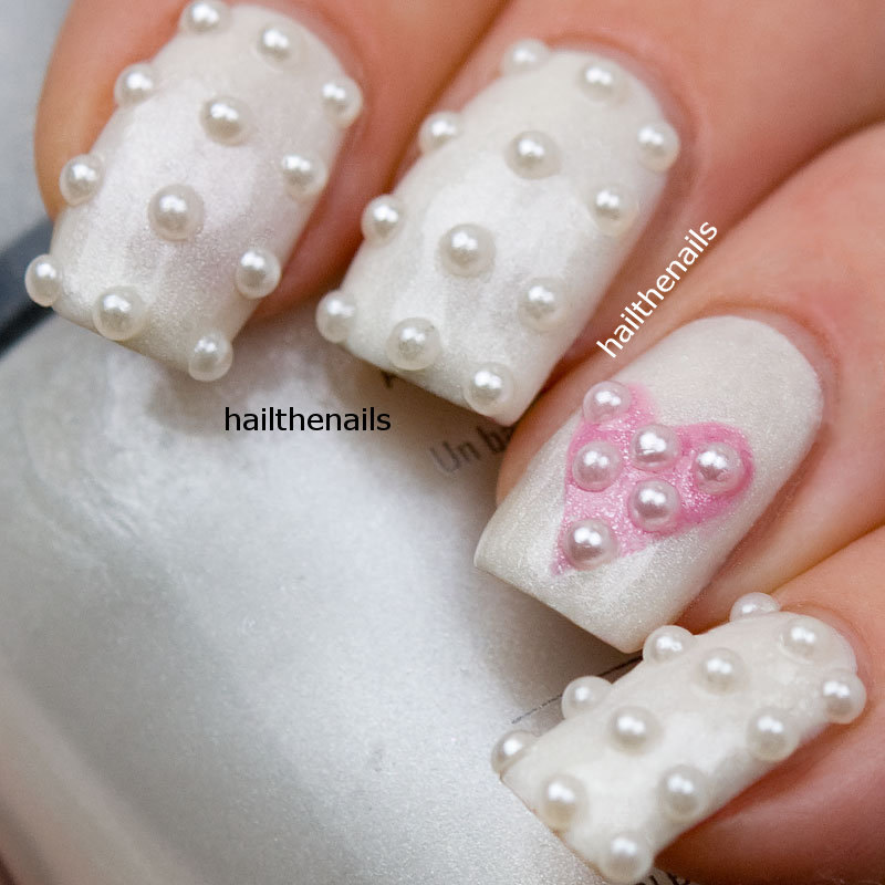 - White Nails With Pearls Design Heart Nail Art