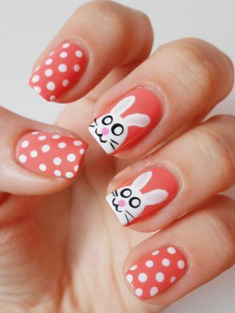 White Polka Dots And Easter Bunnies Nail Art