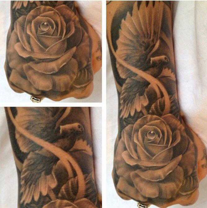40 dove tattoos on sleeve for Dove and hands tattoo
