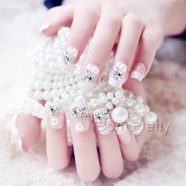 White Tip With Studs And Pearls Design Nail Art