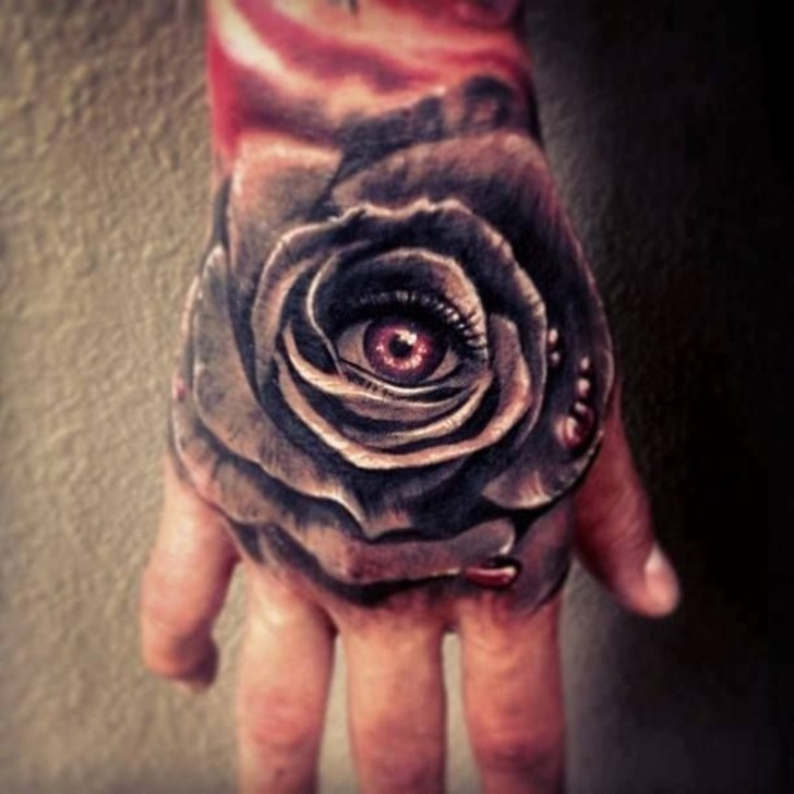 Eye In A Rose Tattoo: 31+ Rose Tattoos On Hands For Men
