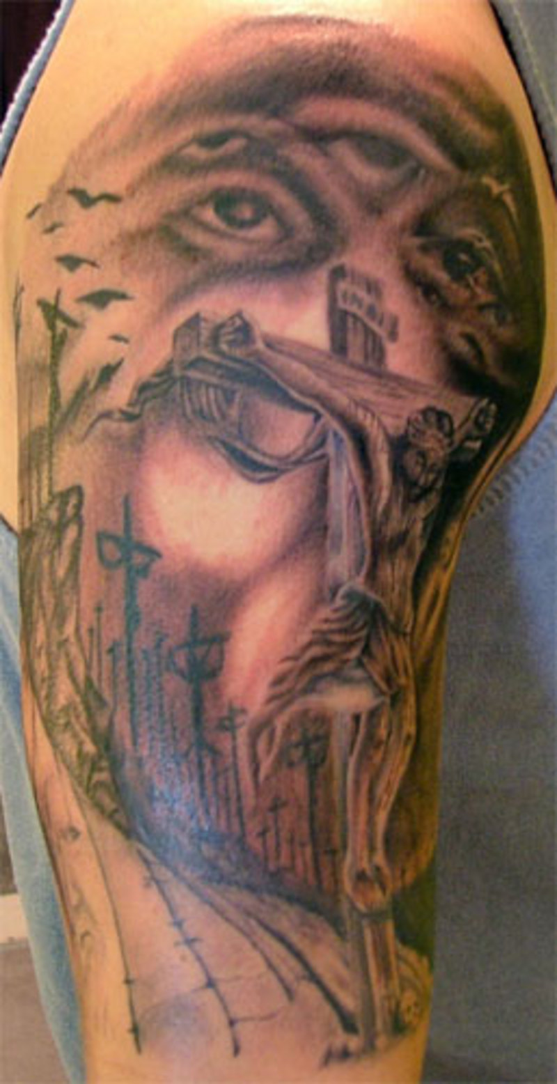 30 christian tattoos on sleeve for Tattoos of crosses with jesus