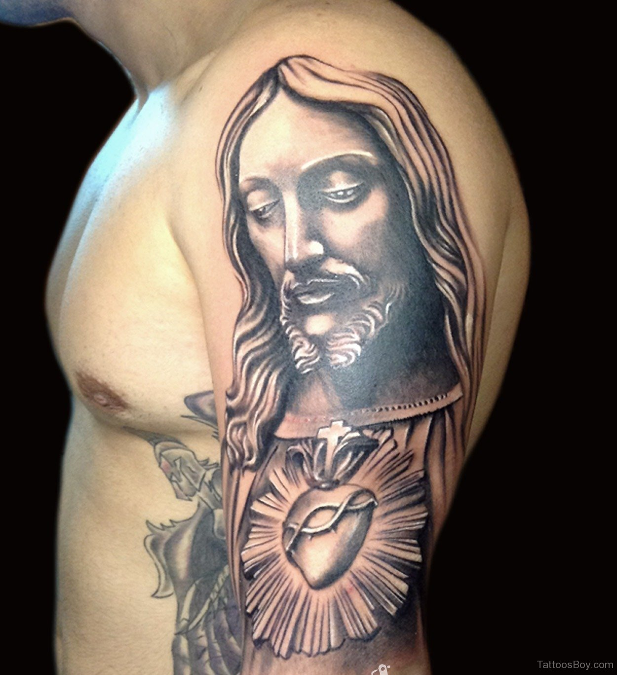 religious jesus christian tattoo on right half sleeve. Black Bedroom Furniture Sets. Home Design Ideas