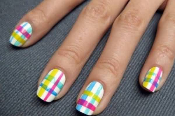 Yellow Blue And Pink Plaid Nail Art Design
