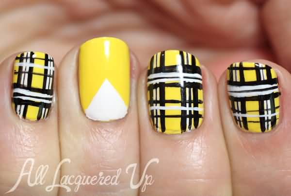 Yellow Plaid Nail Art Design Nail Art