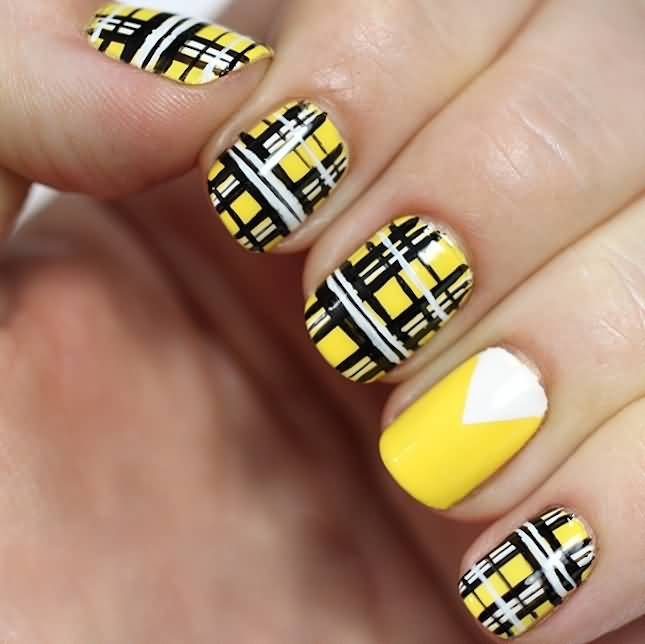 Yellow Plaid Nail Art