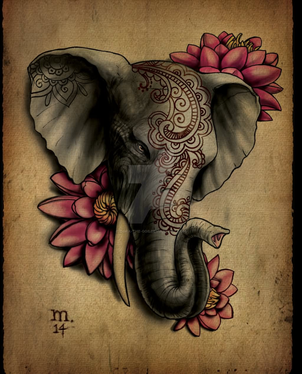 af087e27f 3D Indian Elephant Head With Flowers Tattoo Design By Margo