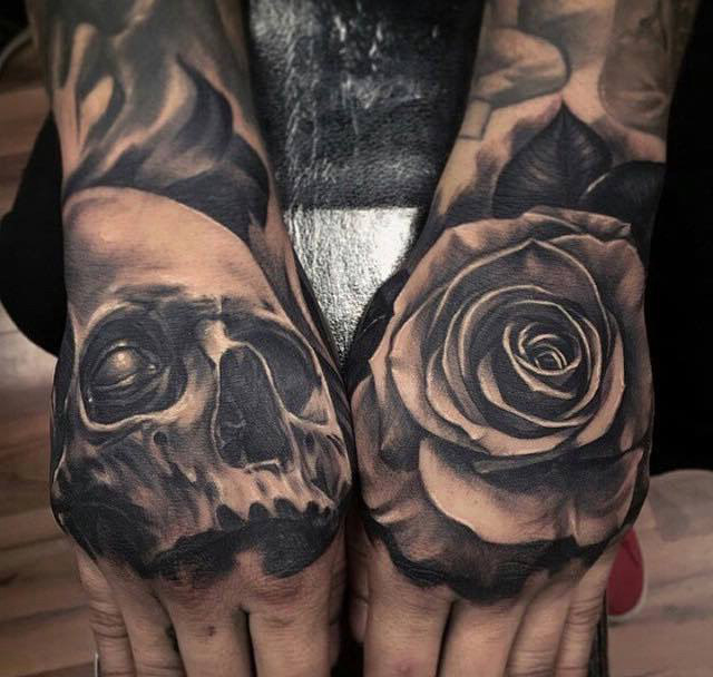 9a17fc0d1 3D Skull And Rose Tattoos On Hands