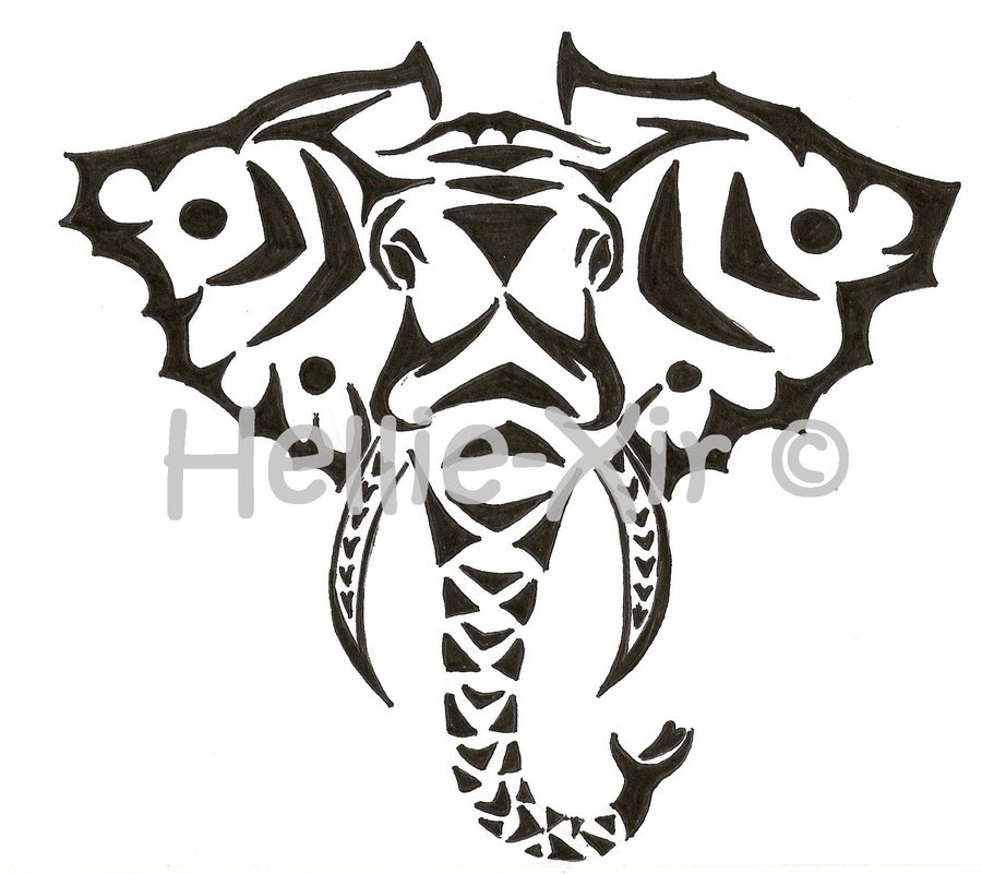 Elephant Stencil Trunk Up Image Gallery tribal e...