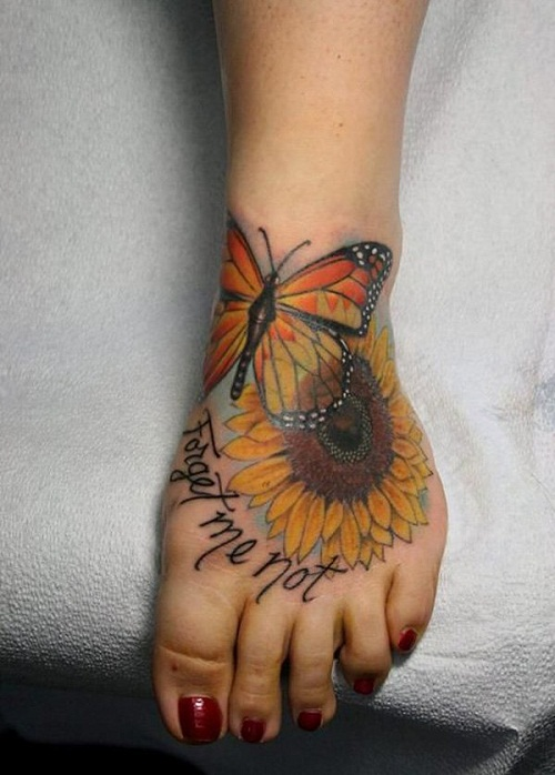 Turn Your Face To The Sun Realistic Sunflower Tattoo On Hip