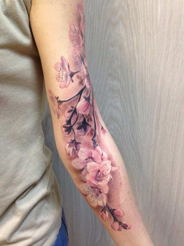 7ad24535d Amazing Cherry Blossom Tattoo On Left Sleeve