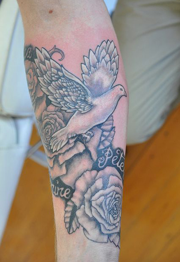 35 dove tattoos with roses for Flower tattoos on lower arm