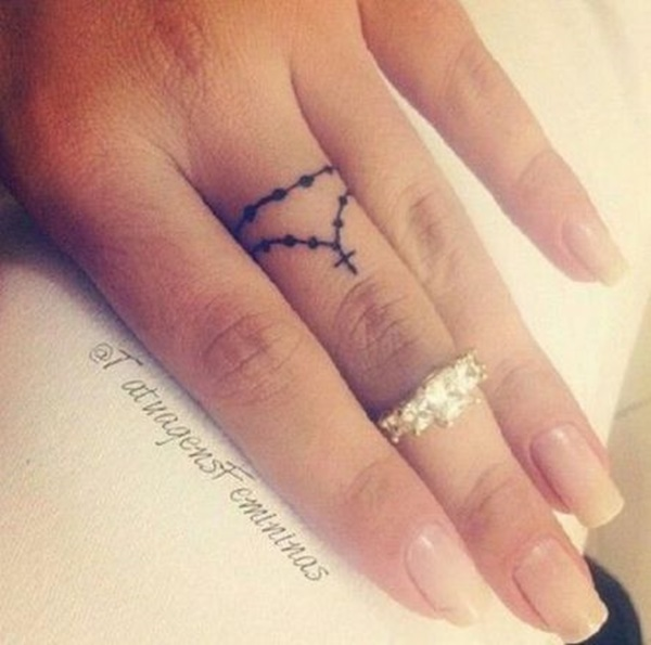 25 Rosary Cross Tattoos On Fingers