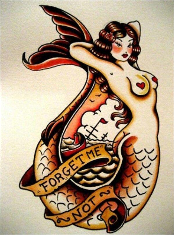 30 American Traditional Mermaid Tattoos