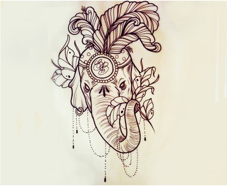 6fd677615 Attractive Indian Elephant Head Tattoo Design