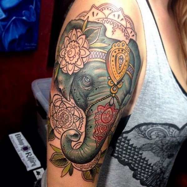 987f7c9f5 Awesome 3D Indian Elephant Head Tattoo On Girl Right Half Sleeve