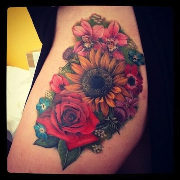 Awesome Colored Realistic Sunflower Tattoos On Side