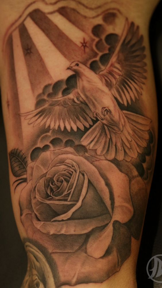35 dove tattoos with roses