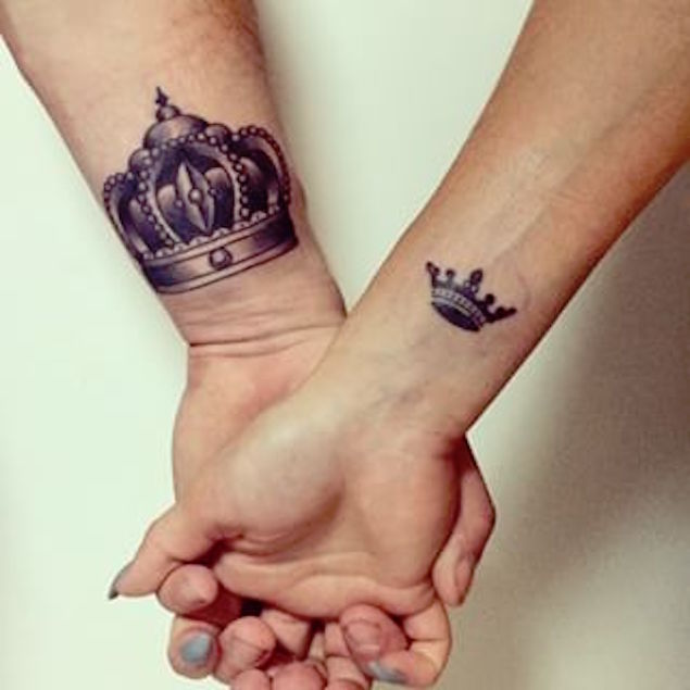 25 crown wrist tattoos for girls for Crown couple tattoos