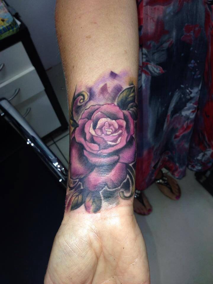 c5598498e Awesome Purple Rose Tattoo On Right Wrist