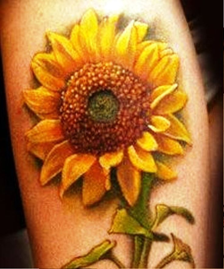 25 beautiful realistic sunflower tattoos for Realistic sun tattoo