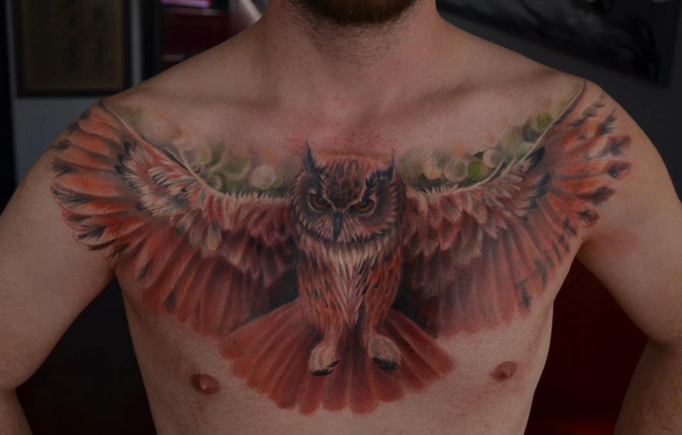 Pretty flying owl tattoo - photo#2