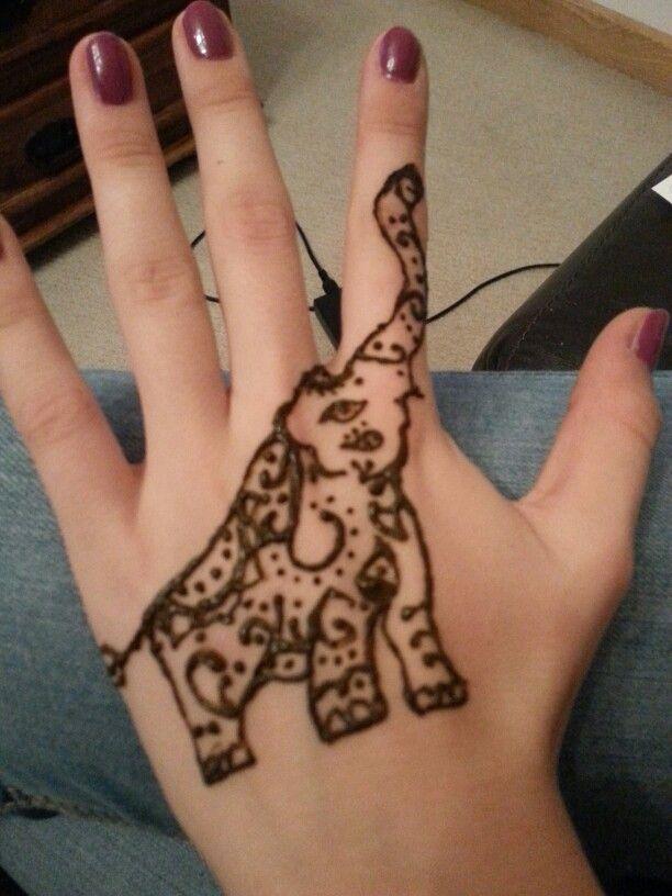 02ab4962b Beautiful Henna Elephant Tattoo On Girl Left Hand