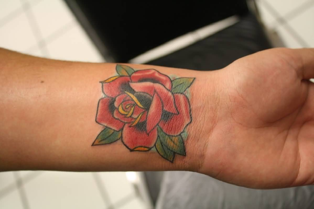 Beautiful Red Rose Flower Tattoo On Wrist