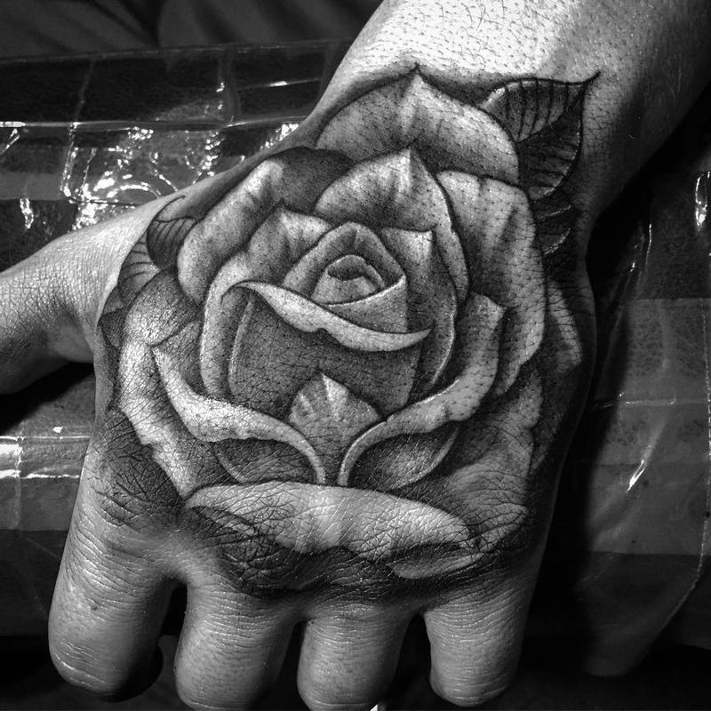 2e186cfb4 Black And Grey Rose Tattoo On Left Hand
