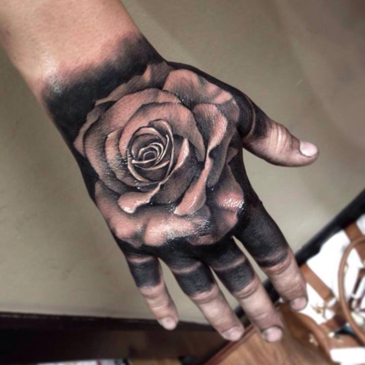 8b6c0f2c9 Black And Grey Rose Tattoo On Right Hand