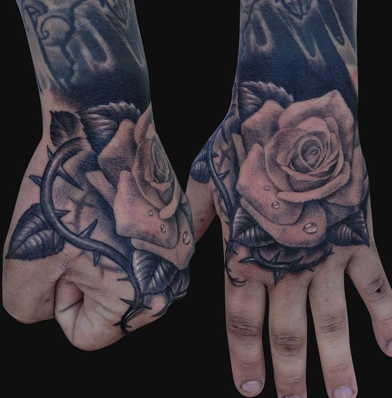 f98aeb0388a59 Black And Grey Rose Tattoos On Both Hands