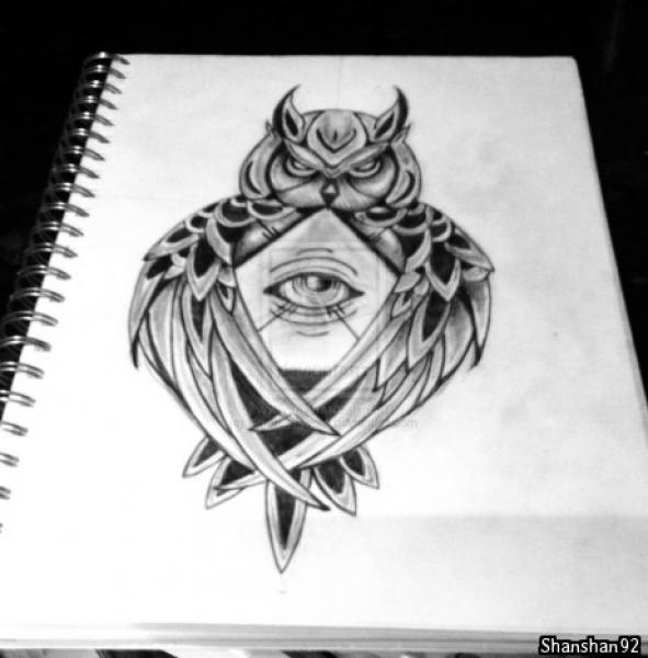 Black And White Owl Triangle Eye Tattoo Design