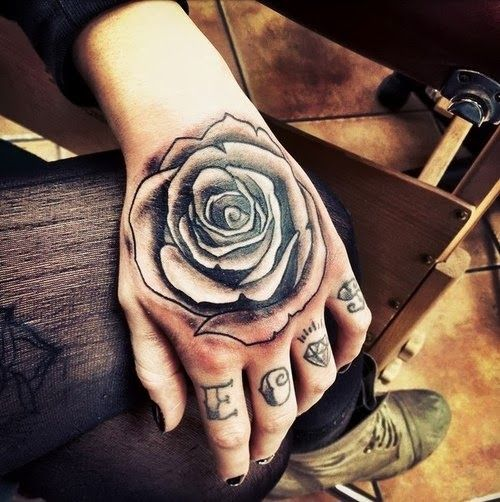 885ba9f24cecc Black And White Rose Tattoo On Hand For Women