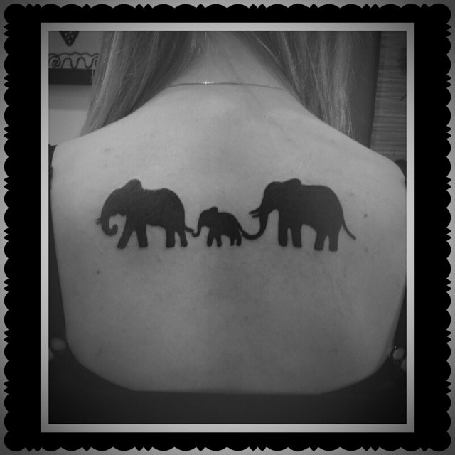 52 black elephant tattoos ideas rh askideas com Mermaid Silhouette Tattoo elephant family silhouette tattoo