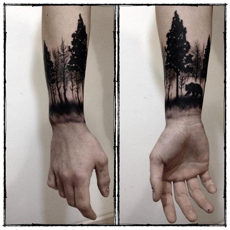 Black Ink Bear In Forest Wrist Tattoo For Men