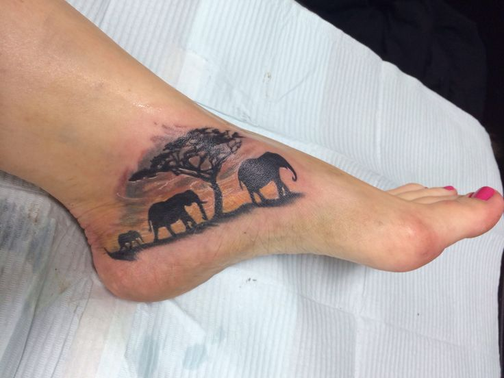 0f27397d1 Black Ink Elephant Family With Tree Tattoo On Foot