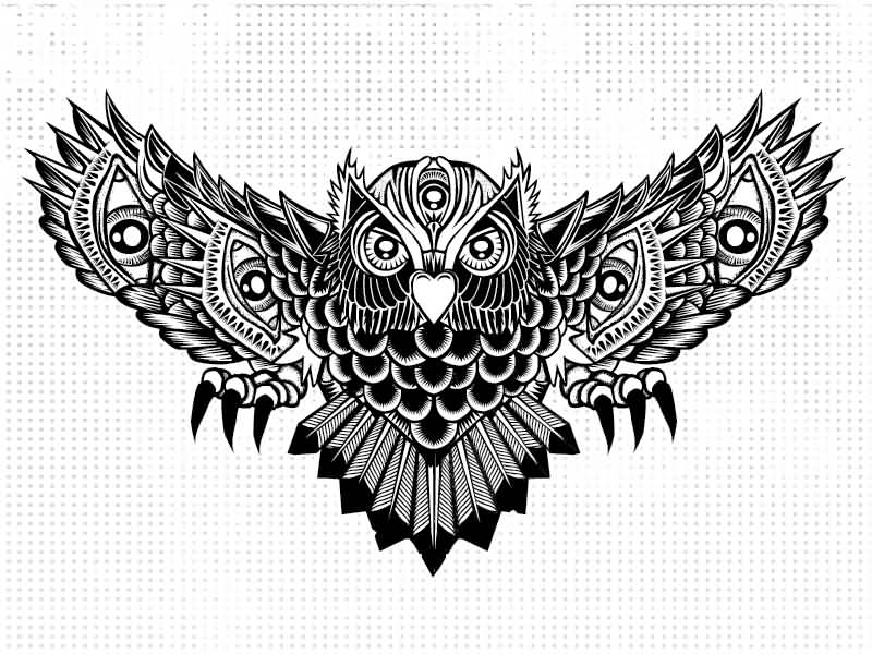 black ink flying owl tattoo design