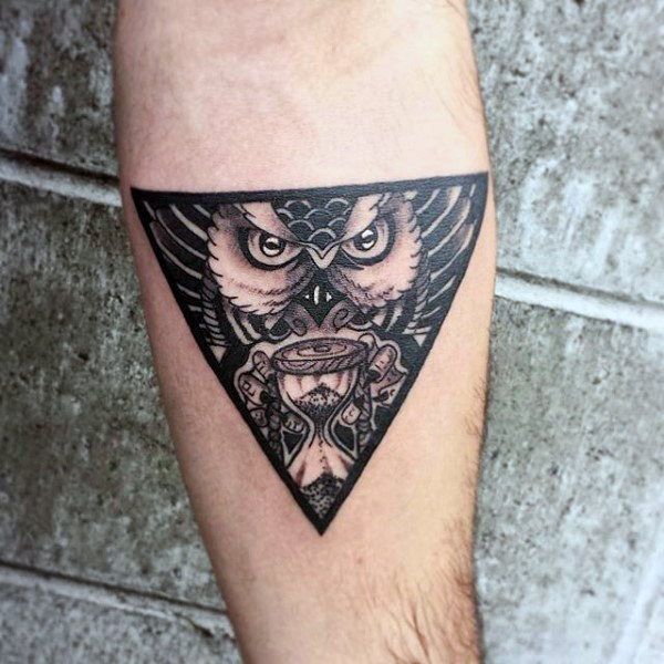 Black Ink Owl With Hou...
