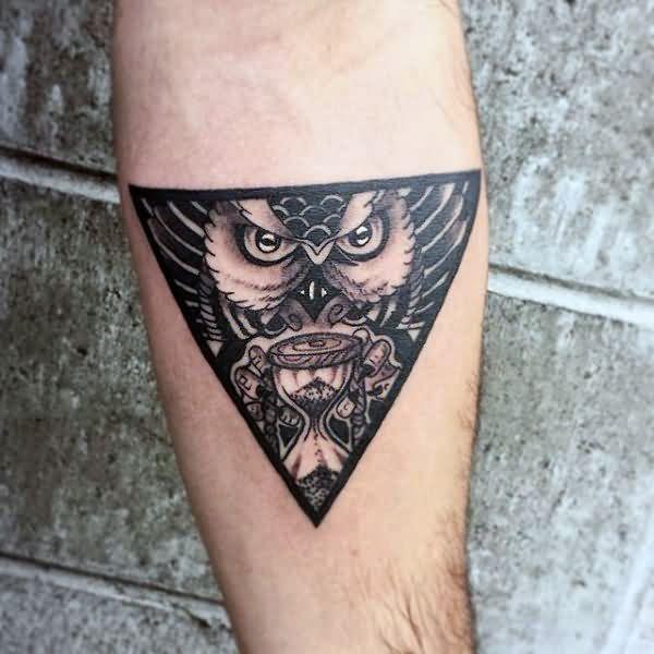 30 best owl triangle eye tattoos for Owl forearm tattoo