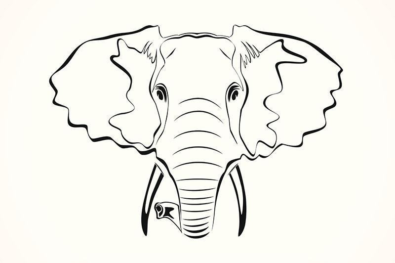 40 outline elephant tattoos. Black Bedroom Furniture Sets. Home Design Ideas