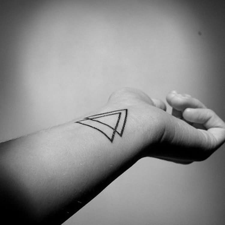 Black Outline Two Triangles Tattoo On Left Wrist