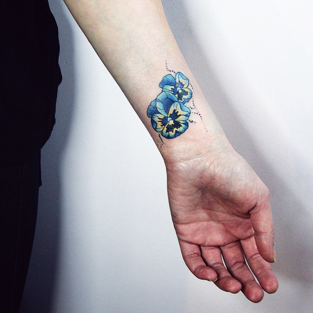 3f29af820 Blue And Black Flower Wrist Tattoo by Alisa Tesla