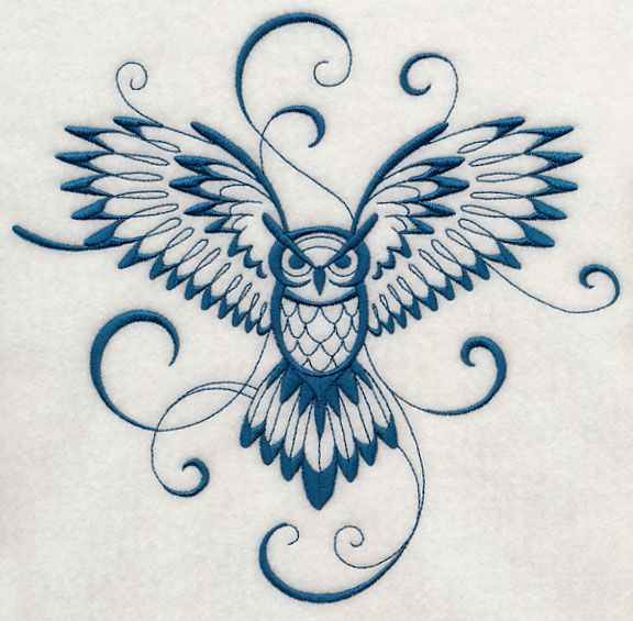blue ink flying owl tattoo design
