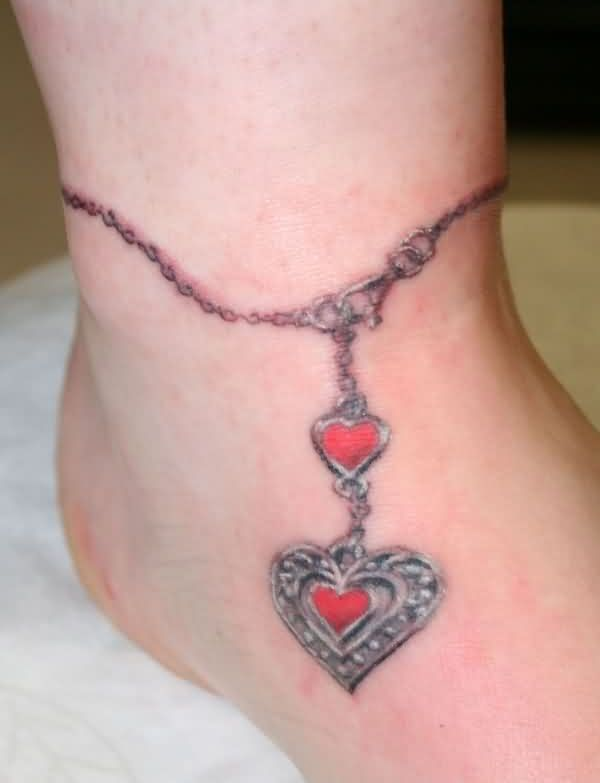 Red Star And Cross Ankle Bracelet Tattoo