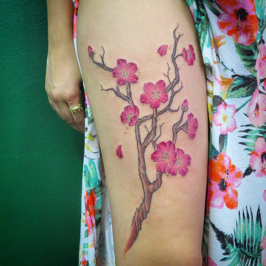7e32fd7c2 55+ Latest Cherry Blossom Tattoos Ideas
