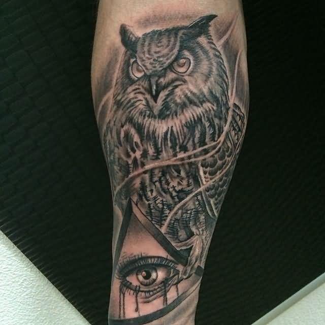 30 Best Owl Triangle Eye Tattoos